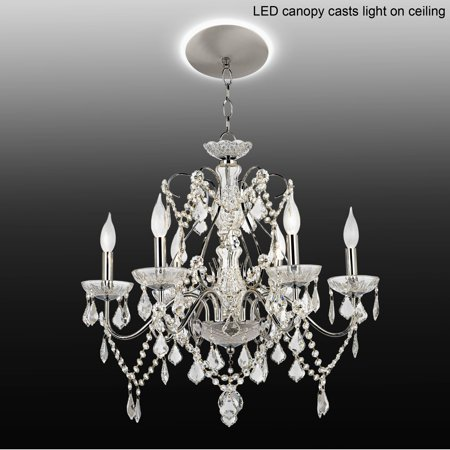 Full Lead Crystal Chandelier (Vienna Full Spectrum Chrome Crystal Chandelier with LED Canopy)