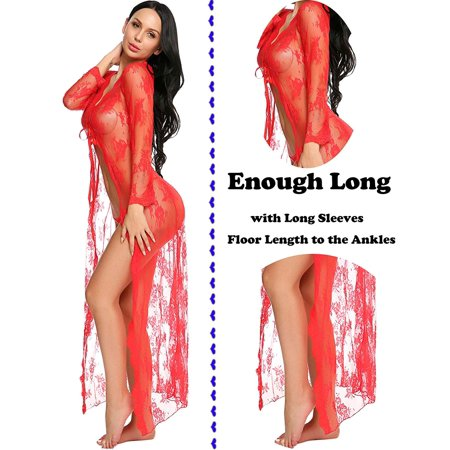 Lingerie for Women Sexy Long Lace Dress Sheer Gown See Through Kimono Robe - image 4 of 6