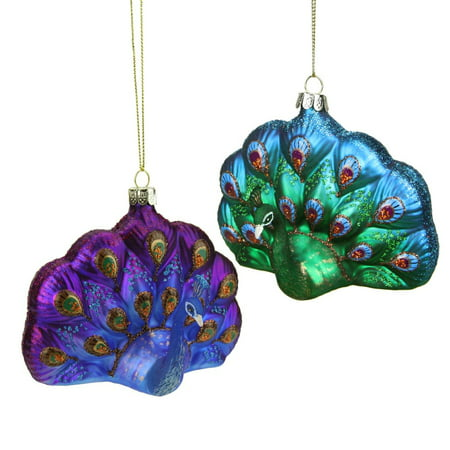 425 regal peacock blue and purple glittered glass peacock christmas ornament - Peacock Blue Christmas Decorations