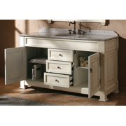60 in. Single Bathroom Vanity with Carerra White Top in White