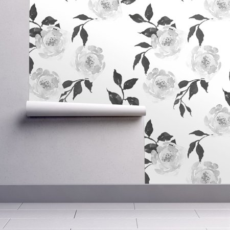 Wallpaper Roll Floral Flowers Black And White Dark Roses Watercolor 24in x 27ft