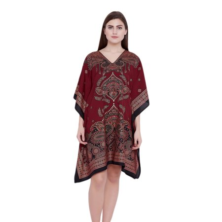 Paisley Shirt Dress (Burgundy Tunics for Women Paisley Gold Foil Printed Ladies Plus Size Tunic Top Kaftan Dresses for Women's Gifts for Her Online by Oussum )