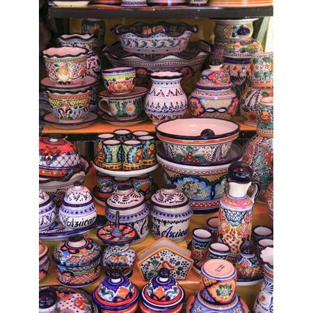 Talavera Pottery, El Parian Market, Puebla, Historic Center, Puebla State, Mexico, North America Print Wall Art By Wendy Connett American Art Pottery