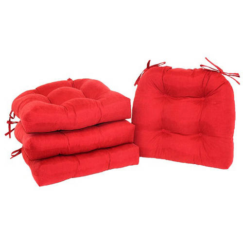 Mainstays Faux Suede Chair Pad with Ties, Set of 4, Multiple Colors Available