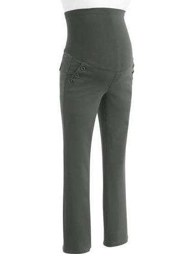 Planet Motherhood Full Panel Woven Maternity Pant w// Button Curved Pockets