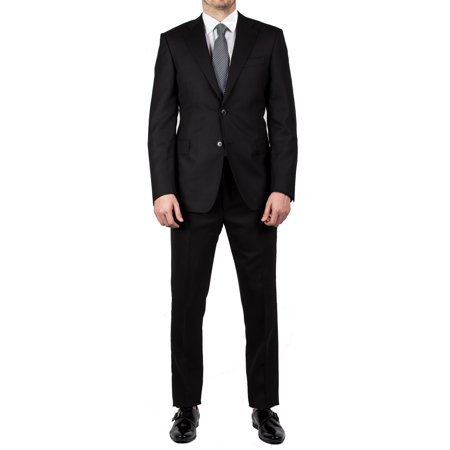 Club Men's Slim Fit Wool Two Button Suit Black Check Wool 2 Button Suit