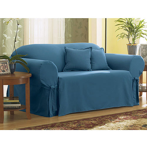 Better Homes and Gardens Cotton Duck Blue Stone Sofa Slipcover