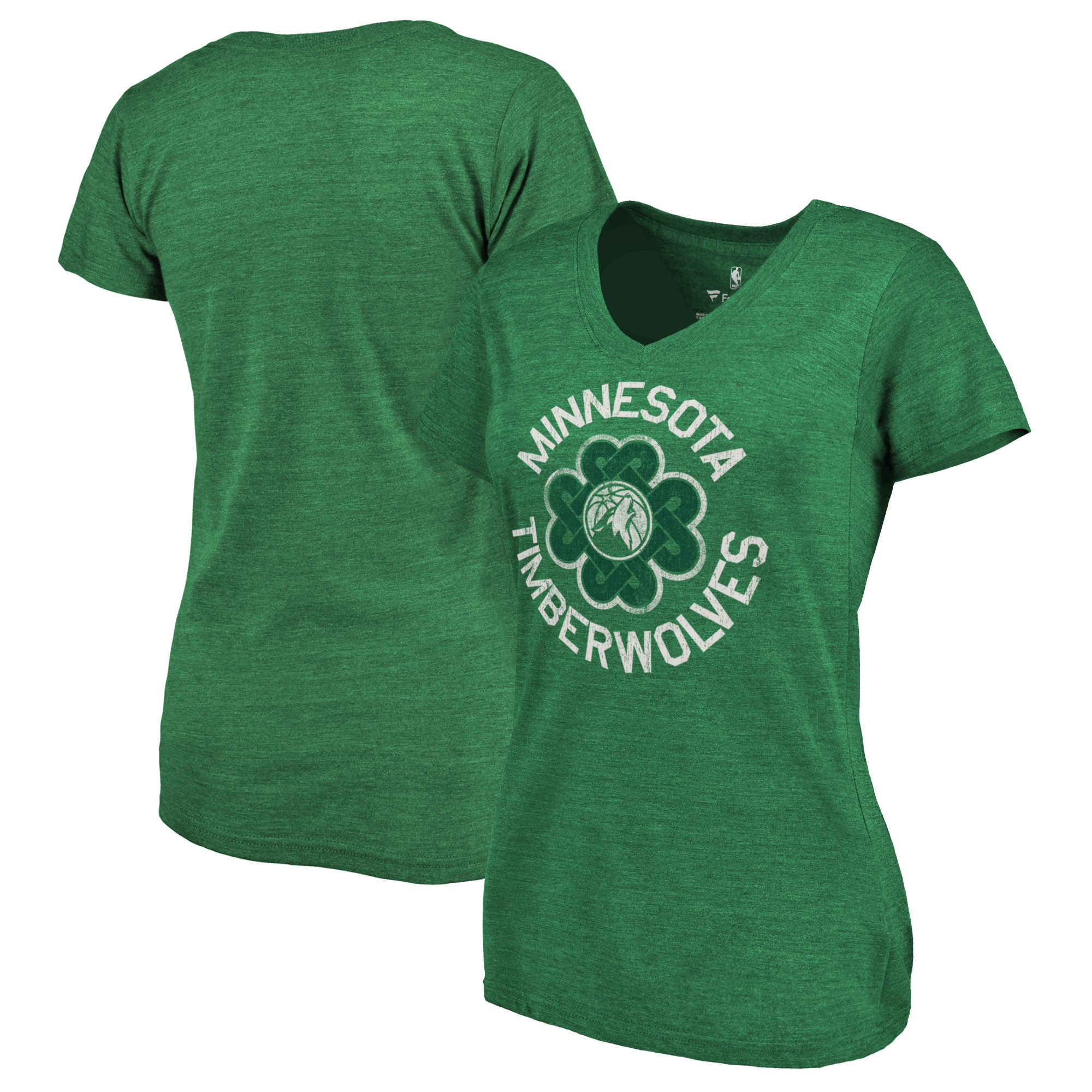 Minnesota Timberwolves Fanatics Branded Women's St. Patrick's Day Luck Tradition Tri-Blend V-Neck T-Shirt - Green