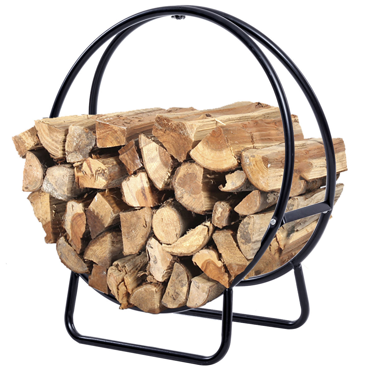 Costway 2 Feet Tubular Steel Log Hoop Firewood Storage Rack Holder Round Display