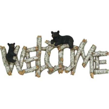 Rivers Edge Products Birch/Bear Welcome - Cat Welcome Plaque
