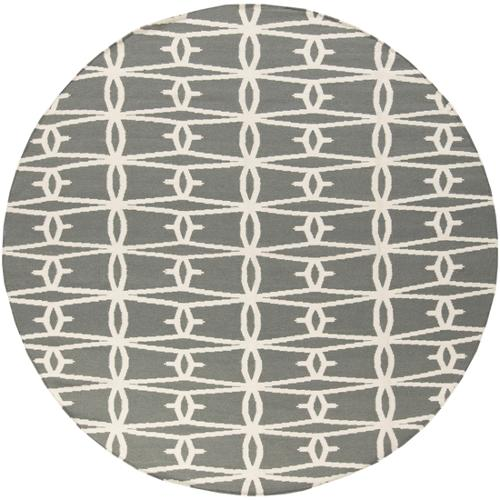 8' Mellow Web Winter White and Jet Black Round Hand Woven Wool Area Throw Rug