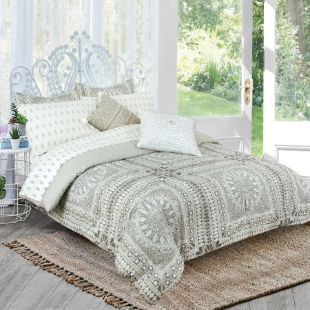 Brooklyn Flat Kata Grey And White Medallion, Reversible, Complete Bedding Set By Royale Linens
