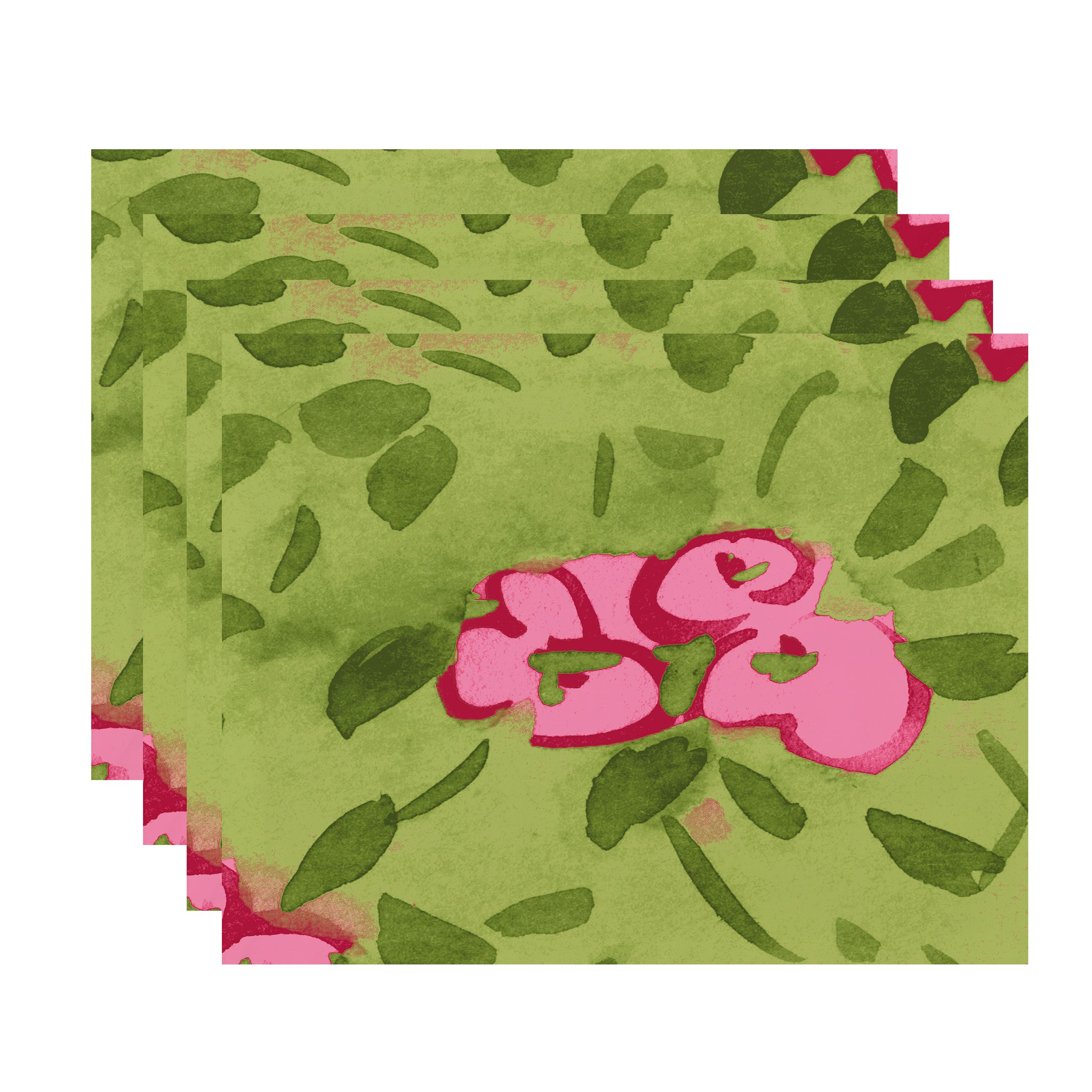 Simply Daisy's Forget Me Not 18x14 inch Pink Floral Print Placemat (Set of Four)