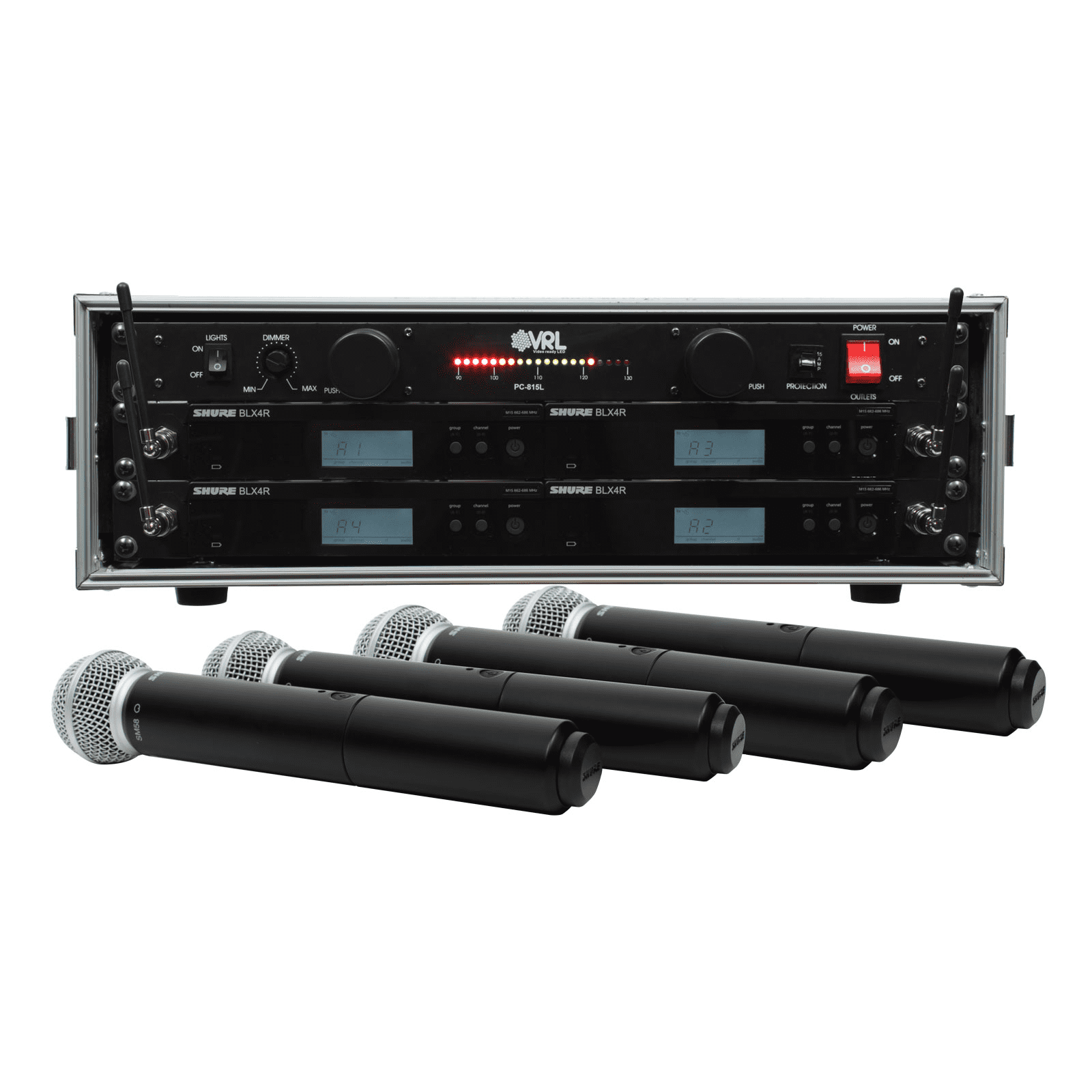 Shure BLX24R SM58 4 Pack Wireless Handheld Mic System with VRL Power Supply by