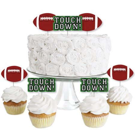 End Zone - Football - Dessert Cupcake Toppers - Baby Shower or Birthday Party Clear Treat Picks - Set of 24 - Football Desserts