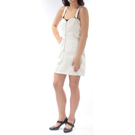 GUESS Womens White Faux Leather Zippered Sleeveless Sweetheart Neckline Above The Knee Shift Dress  Size: L