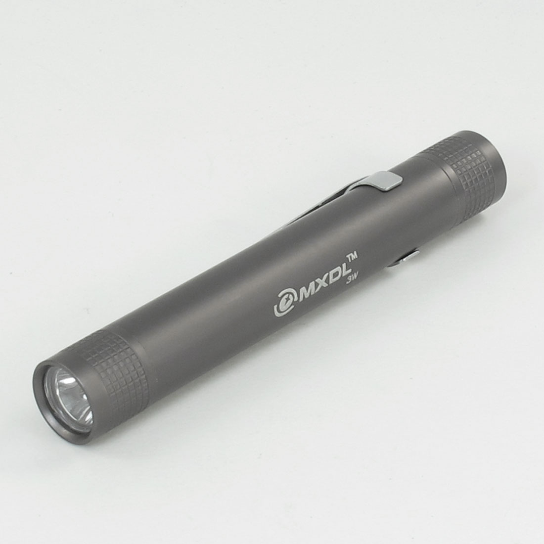 Outdoor Camping Gray Aluminum Alloy White LED Light Clip Flashlight Torch by Unique-Bargains