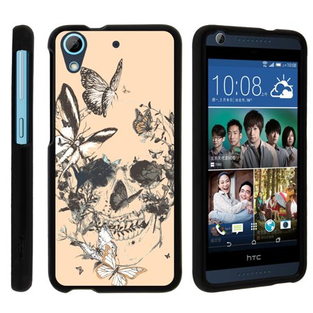 Htc Desire 626  626S   Snap Shell  Matte Black  2 Piece Snap On Rubberized Hard Plastic Cell Phone Case With Exclusive Art   Butterfly Skull