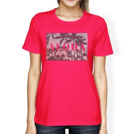 Aloha Palm Tree Photo Women Hot Pink Graphic Tee Lightweight Cotton](Aloha Printing)
