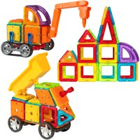 Best Choice Products 162-Piece Magnetic Tiles for STEM Education w/ Excavator Truck, Multicolor