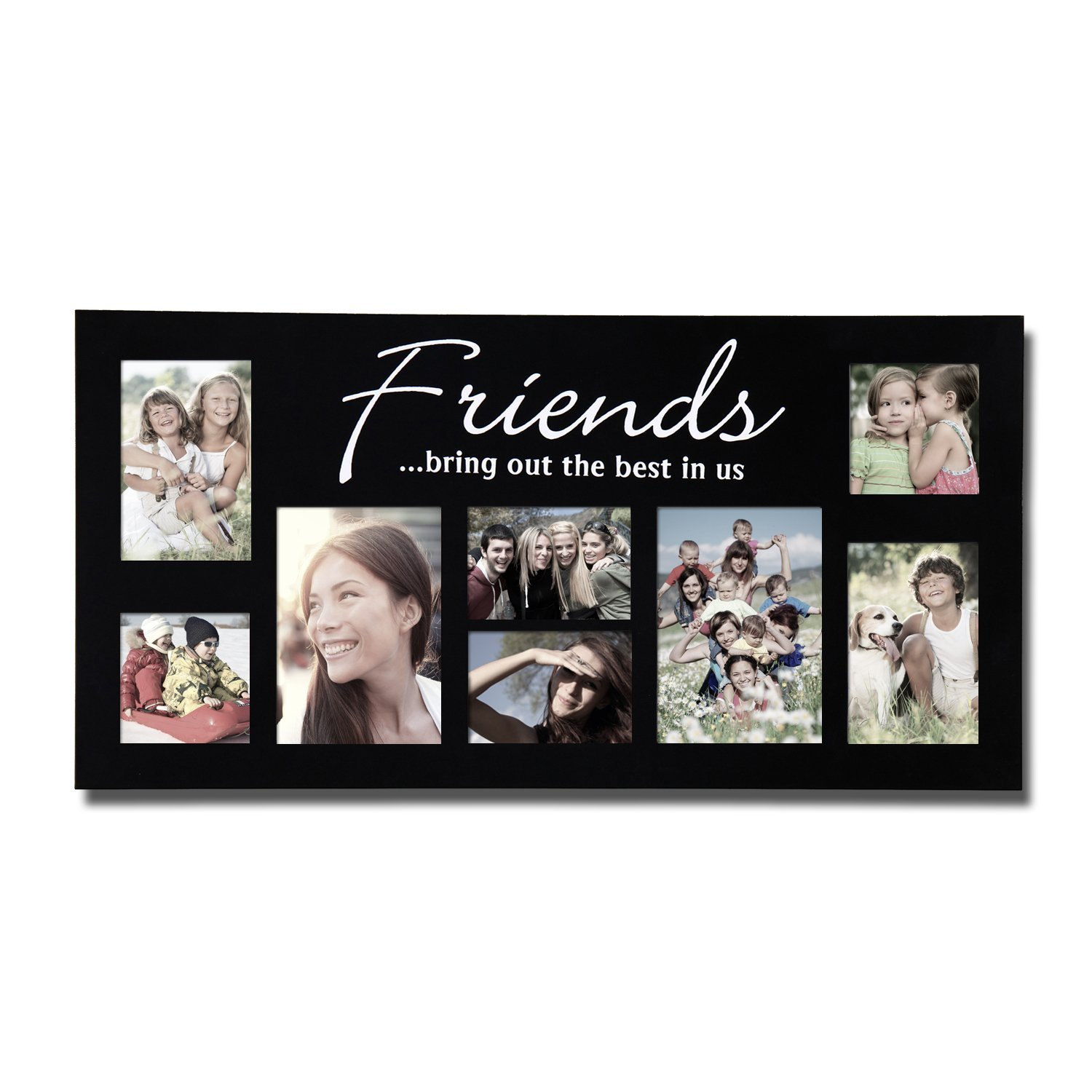 "PF0029 8-Opening ""Friends Bring Out The Best In Us"" Picture Collage Puzzle Frame - Holds Two 4x4"", Two 4x6"", Two 5x7"" and Two 3.5x5"" Photos - Black, Wood.., By Adeco"