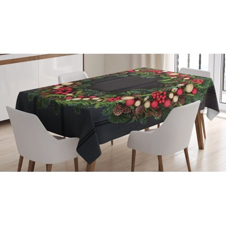 Christmas Table Decoration (Christmas Decorations Tablecloth, Christmas Wreath Little Baubles Mistletoe Spruce Fir Dark Oak Image, Rectangular Table Cover for Dining Room Kitchen, 60 X 84 Inches, Multicolor, by)