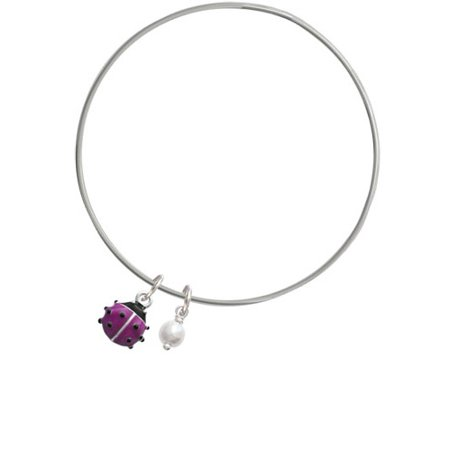 Mini Hot Purple Ladybug - Imitation Pearl Bicone Bangle Bracelet