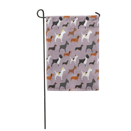 KDAGR Dogs Pattern Bulldog Dachshund French Pet English Puppy Boxer Garden Flag Decorative Flag House Banner 12x18 inch