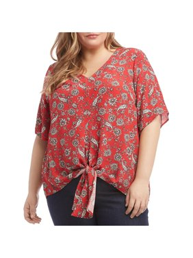 Karen Kane Womens Plus Te Front V-Neck Pullover Top