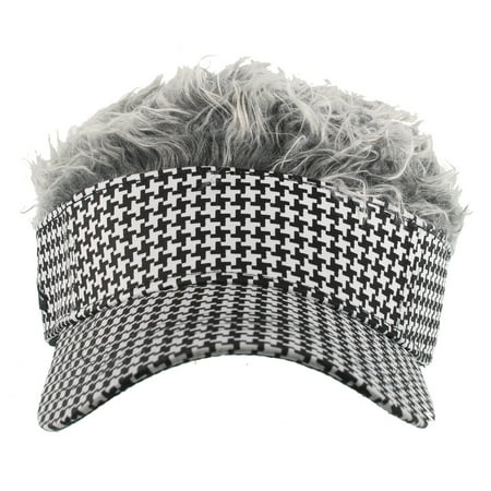 HOUDSTOOTH PATTERN VISOR - Grey Flair Hair - COSTUME
