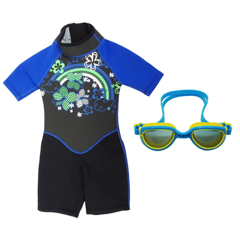 Kiddi Choice Kids 2.5mm Neopreme Short Sleeve Wetsuit Black Blue w  Swim Goggles Blue Yellow, 2 by Scuba Choice