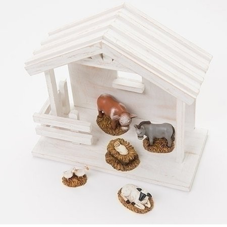 5- Piece Baby Jesus with Animlas Nativity Christmas Table Top Figure Set
