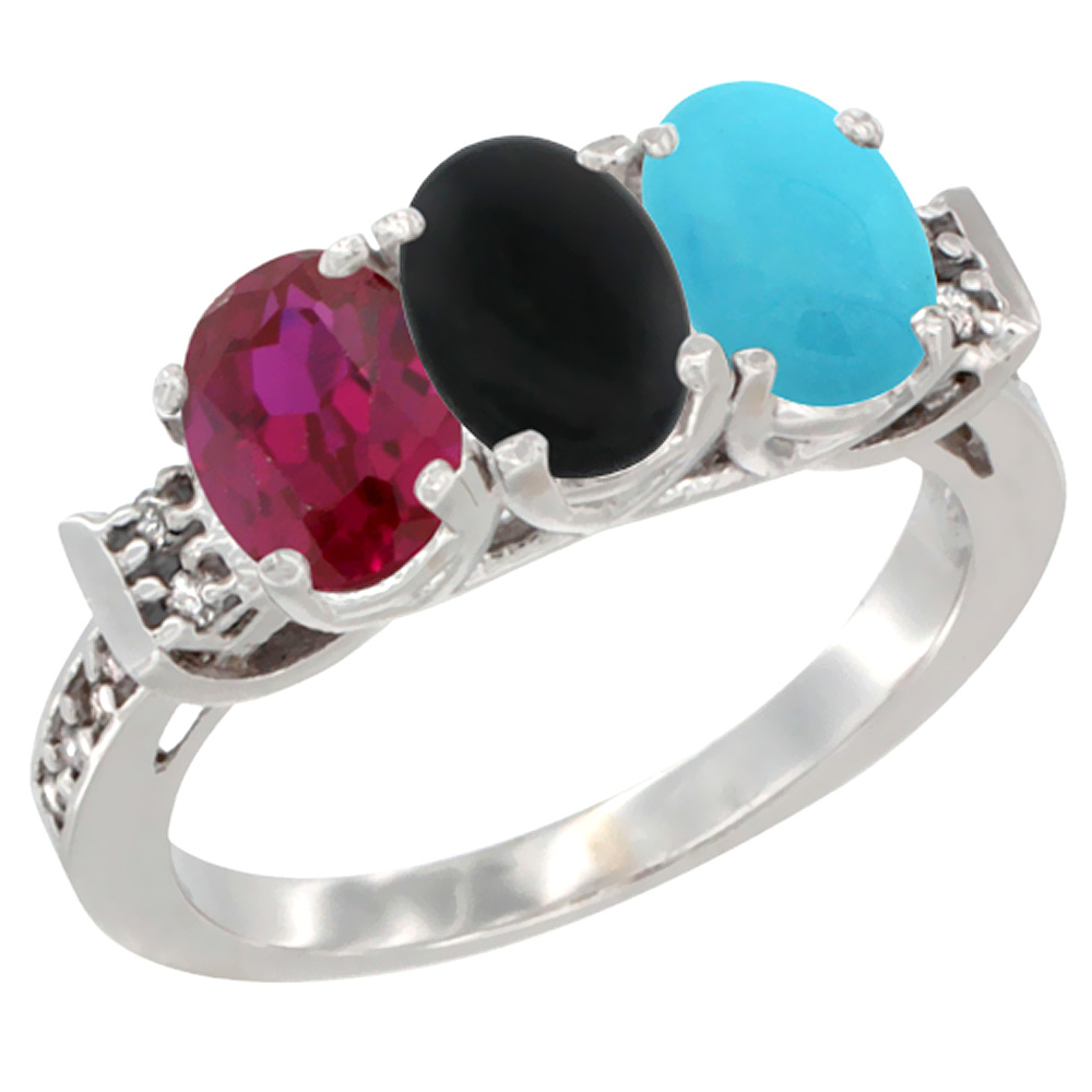 10K White Gold Enhanced Ruby, Natural Black Onyx & Turquoise Ring 3-Stone Oval 7x5 mm Diamond Accent, sizes 5 10 by WorldJewels