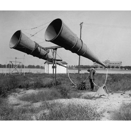 Soldier Listening Through Bolling FieldS Amplifier History