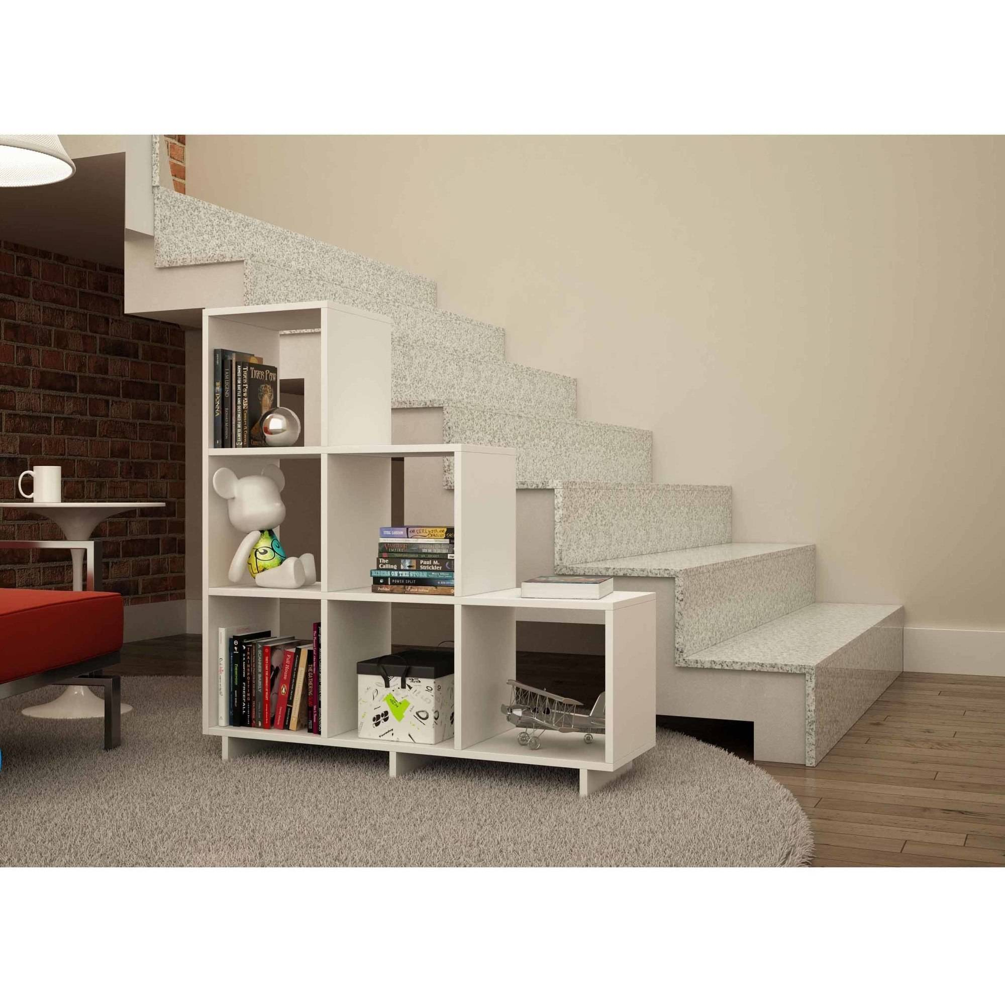 Mendocino Filbert Sophisticated Stair Cubby Bookcase, White