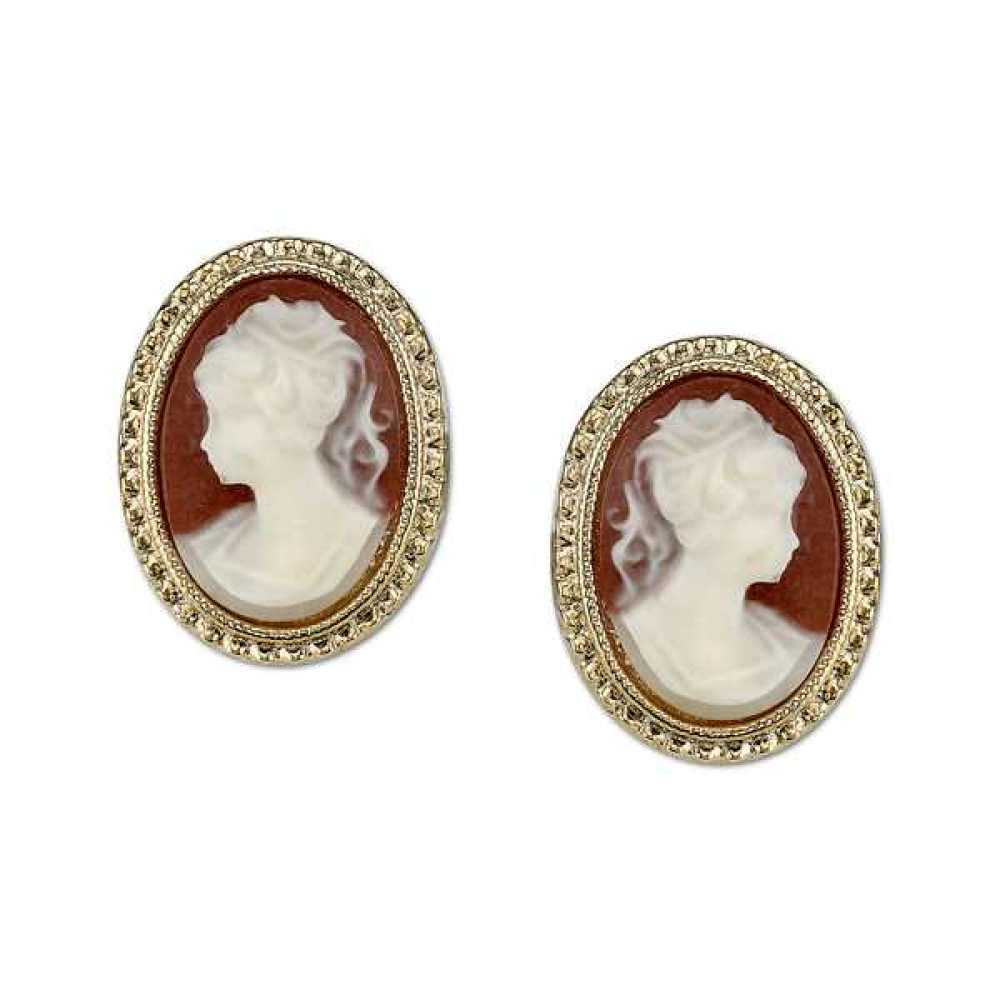 1928 Jewelry Womens Gold-Tone Simulated Cameo Stud Vintage Costume Earrings NEW