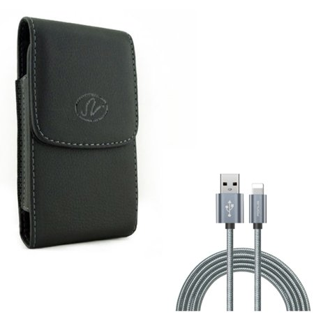 Leather Case Belt Clip w Charger Cord 10ft USB Cable for #model_series - Holster Cover Pouch Vertical Carry and Power Wire Braided Long Sync