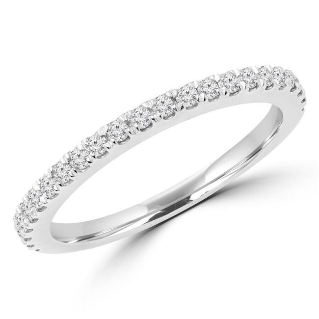Majesty Diamonds MD170327-5.75 0.25 CTW Round Diamond Semi-Eternity Wedding Band Ring in 14K White Gold, Size 5.75 - image 1 of 1