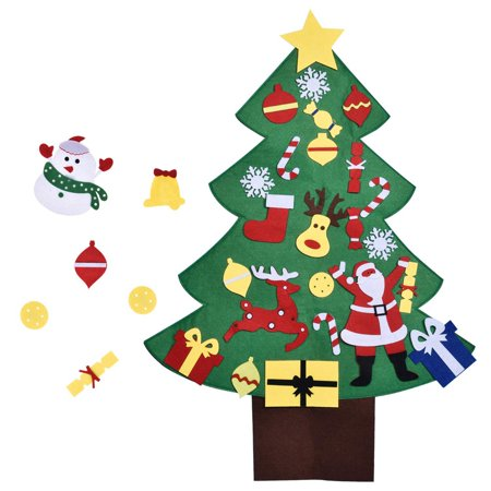 3FT DIY Christmas Tree for Kids with 28PCs Felt Ornaments, Classroom Door & Wall Decorations, DIY Toys, Party Favor ()
