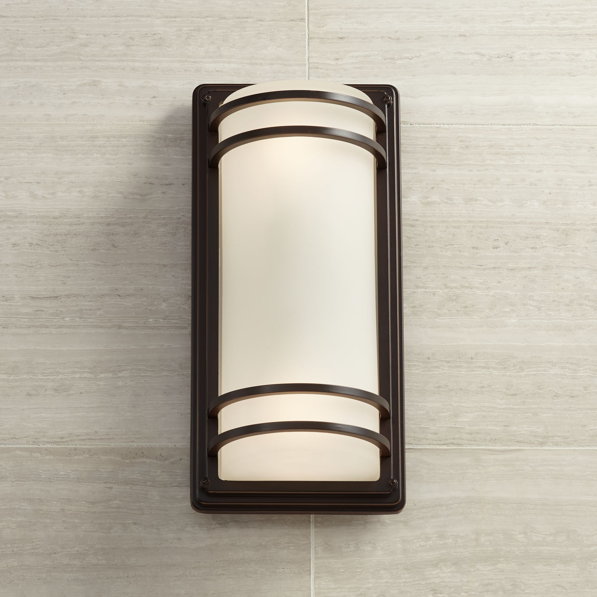 """John Timberland Modern Outdoor Wall Sconce Fixture Rubbed Bronze 16"""" Opal Etched Glass for Exterior House Porch Patio"""