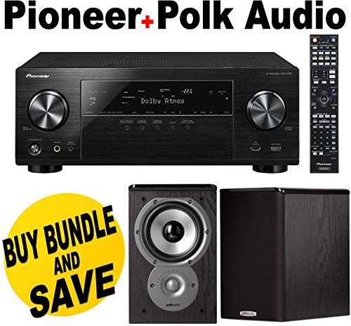 Pioneer VSX-1130-K 7.2-Channel AV Receiver with Built-In Bluetooth and Wi-Fi (Black) + Polk Audio TSi100 Bookshelf