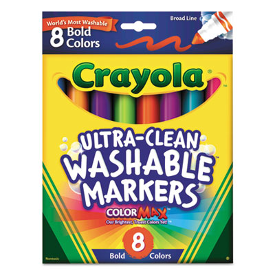Washable Markers, Broad Point, Bold Colors, 8/Set, Sold as 1 Set, 8 Each per Set