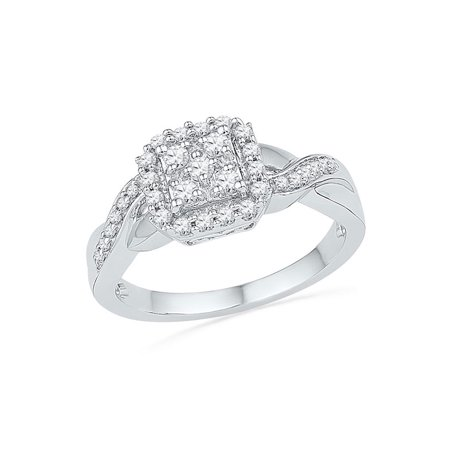 10kt White Gold Womens Round Diamond Square Cluster Ring 1/3 Cttw - image 1 de 1