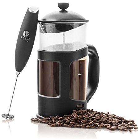 Bean Envy 34 oz French Press Coffee, Espresso and Tea Maker - Premium Bundle Includes Electric Milk Frother - Best Press For 1, 3, 4 or 8