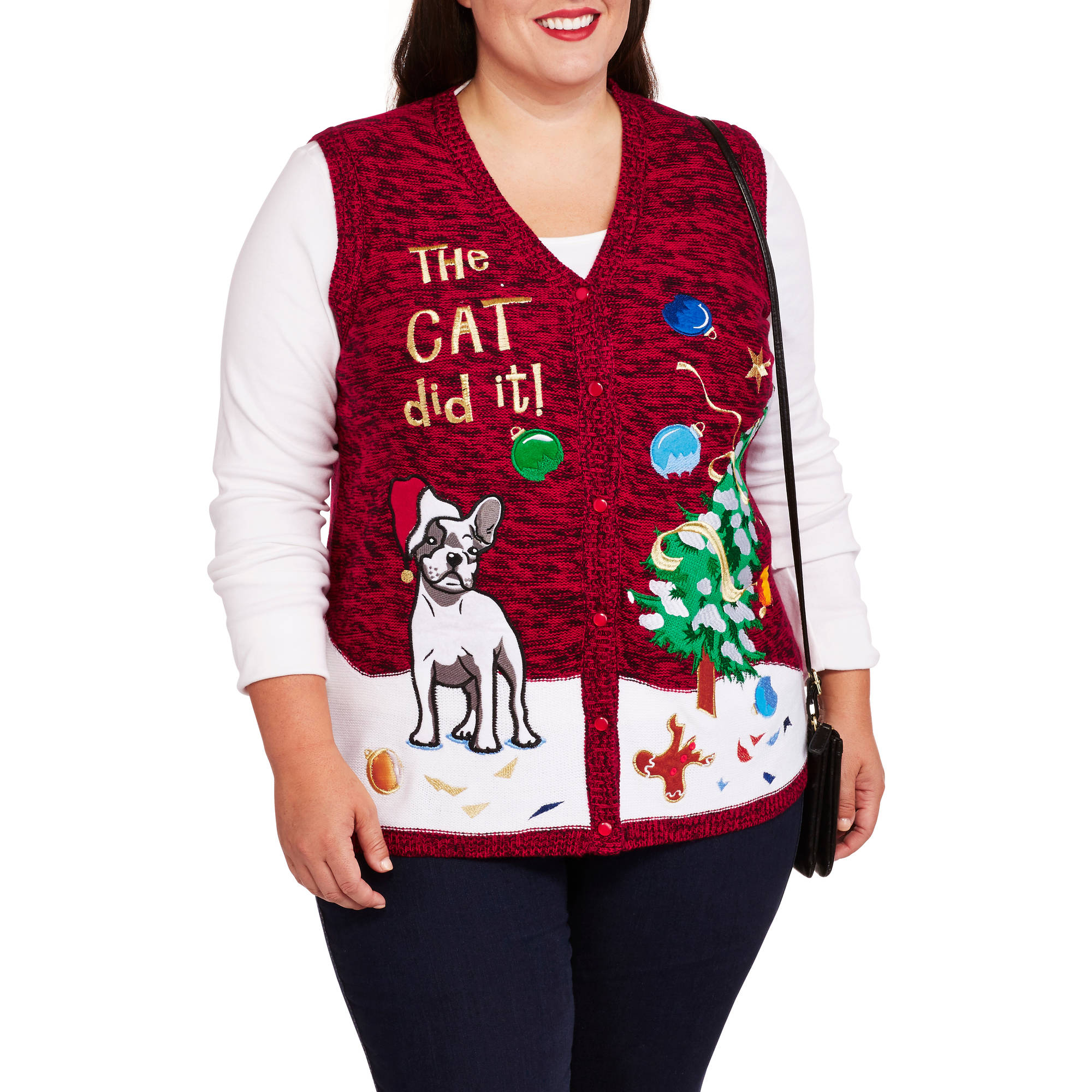 """Holiday Time Women's Plus """"The Cat Did It"""" Christmas Sweater Vest"""