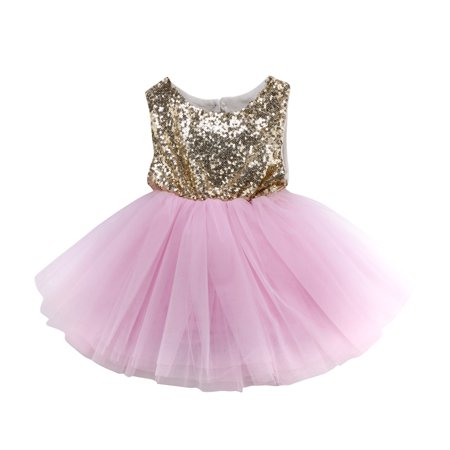 Toddler Baby Girl Sleeveless Party Birthday Wedding Sequin Dress Tutu Skirt with Bownot - Party Dresses For Girls 7 14
