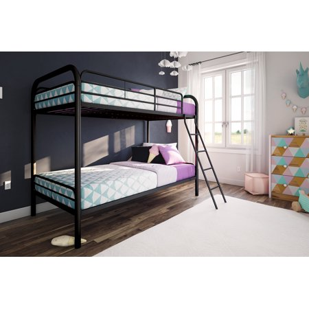 Twin Over Twin Metal Bunk Bed With Mattresses Walmartcom