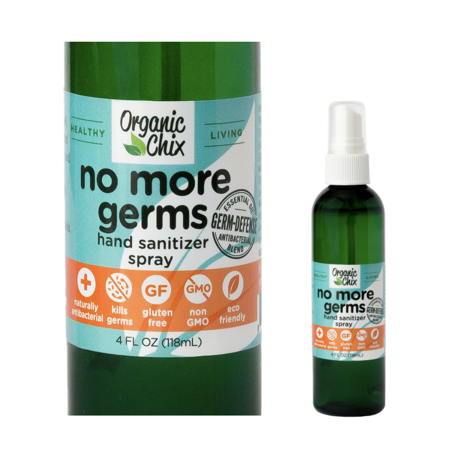 Organic Chix Powerful Natural Alcohol Free Hand Sanitizer - Made in USA, Ecofriendly Sanitizer From Pure Plant Based Essential Oils - Protects From Germs & Defends Immune System (4oz Spray Bottle) Devils Claw Organic Alcohol
