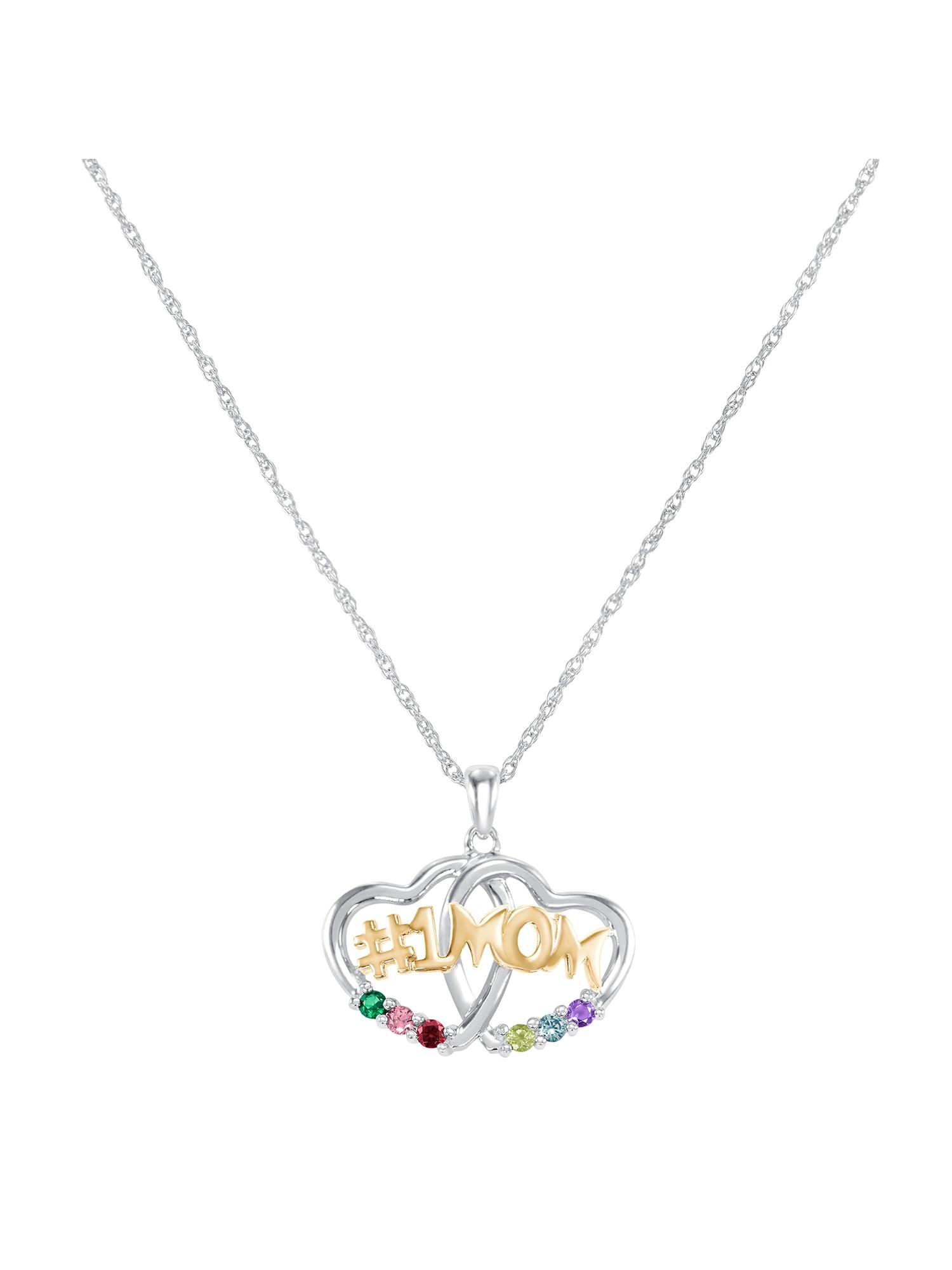 Keepsake Personalized Family Jewelry Jessamine 6 Genuine or Simulated Birthstone Pendant