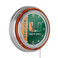 University of Miami Chrome Double Rung Neon Clock - Text